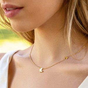 (NEW) 14k Gold Dipped Gold Butterfly Necklace